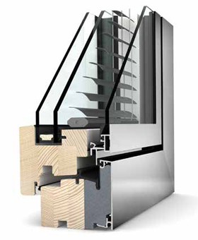 Internorm HV 350 TIMBER/ALU/BLIND - Window Profile