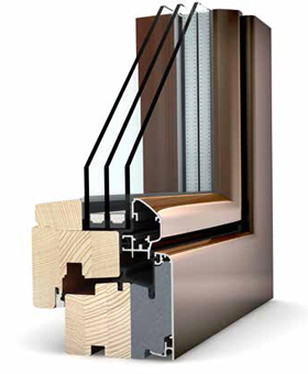 HF 210 timber aluminium window profile.