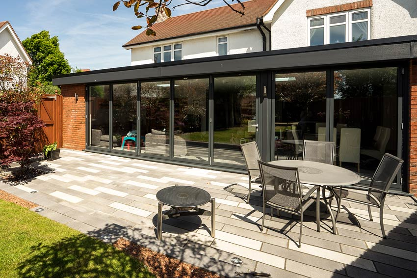 Essential aluminium large panel bifolding doors.