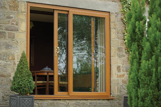 Original Golden Oak In-Line sliding patio door