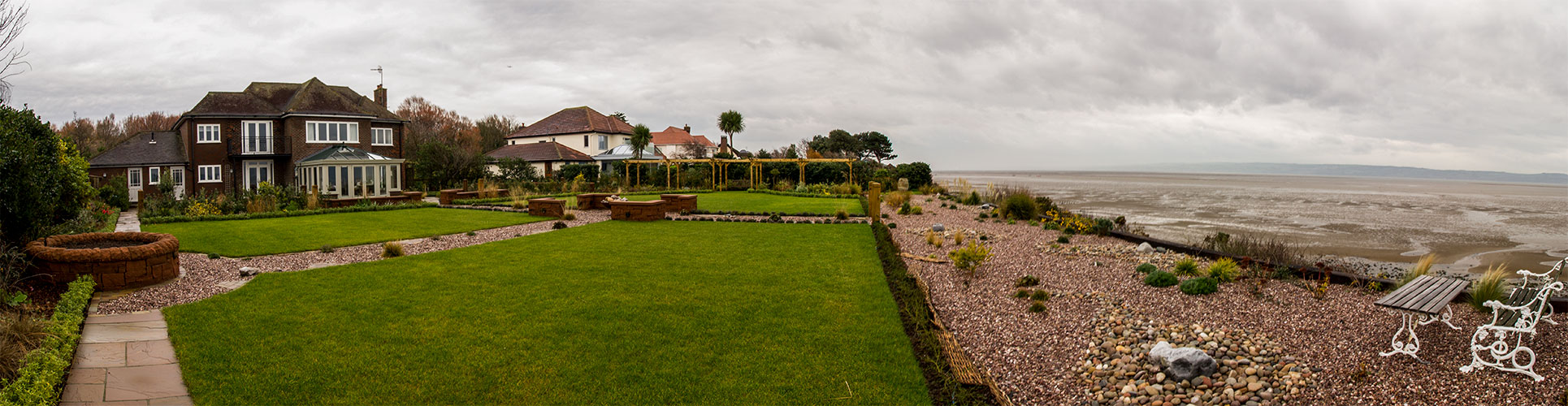 Panoramic image of Evolution garden room installation to capture the stunning views of the North Wales coastline.
