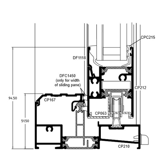Sliding Cill technical drawing