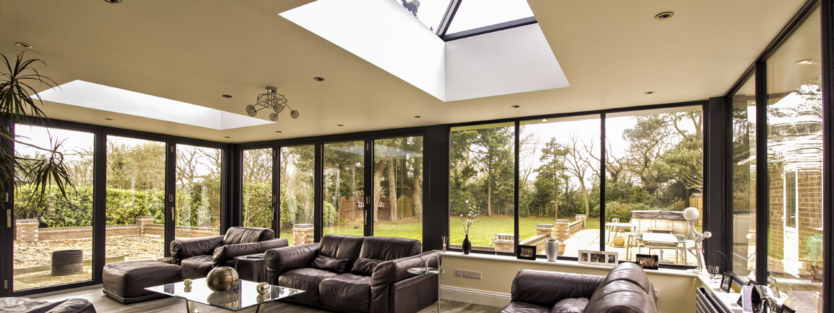 Internal shot of aluminium windows, doors and roof lantern