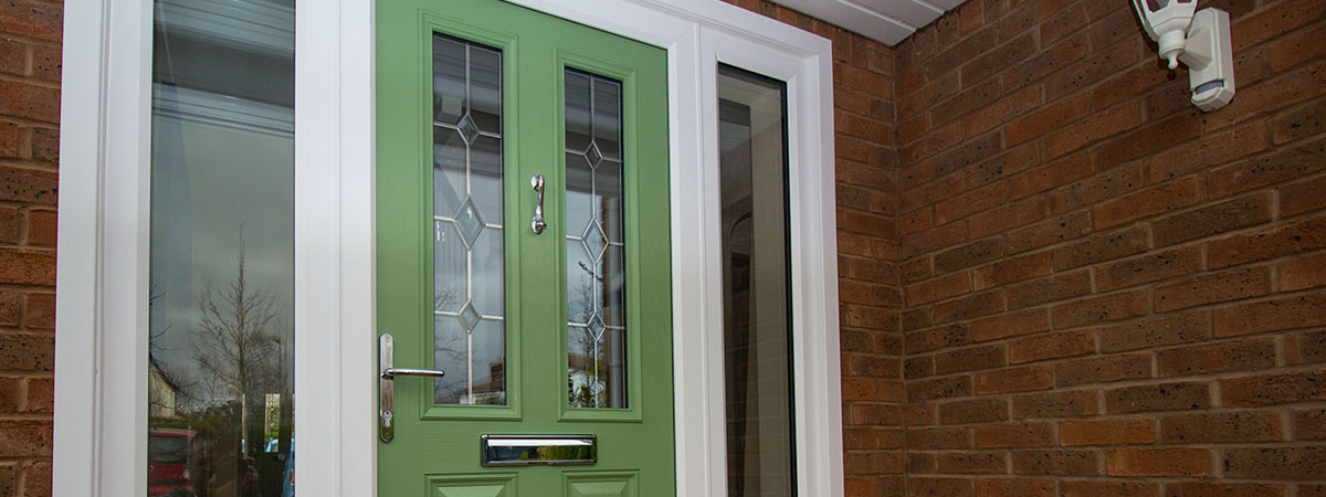 Green Entrance Door installed in Cheshire, webpage banner.