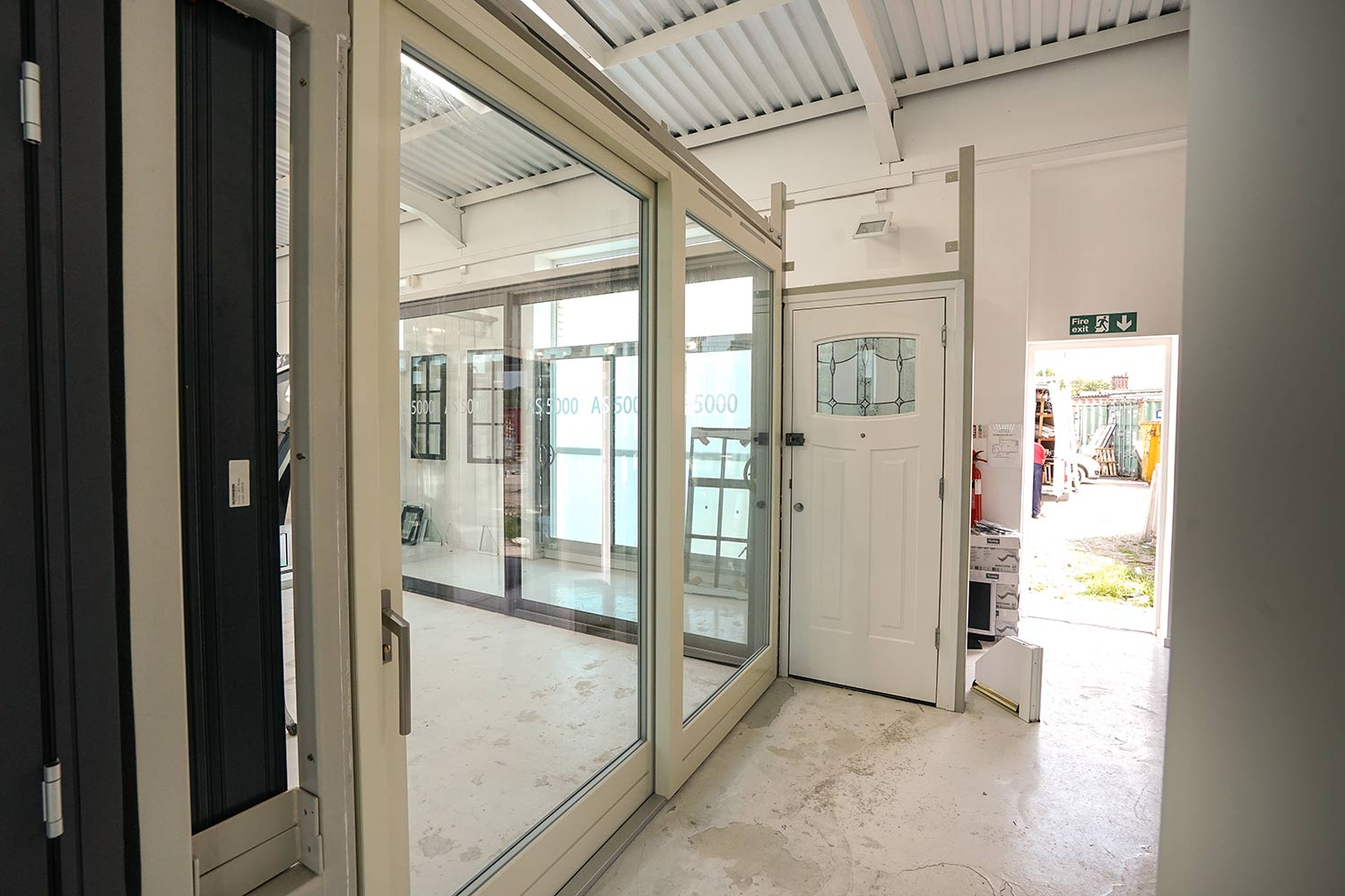 Internal view of Rationel aluminium sliding door.