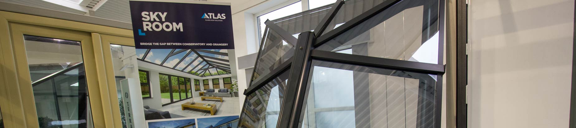 Aluminium roof lantern on display in our Heswall showroom in Grey RAL 7016.