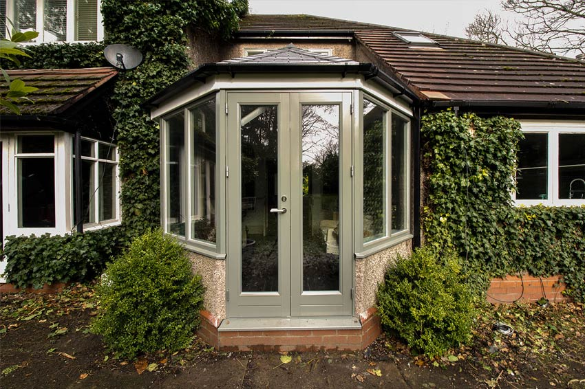 Alu-Clad timber french door internally Internorm.