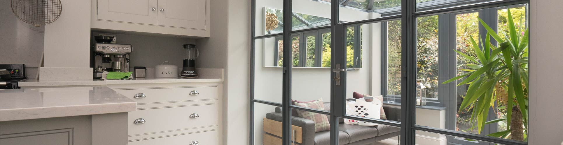 Crittall internal screen installed for a client in Manchester, separating the kitchen and conservatory.