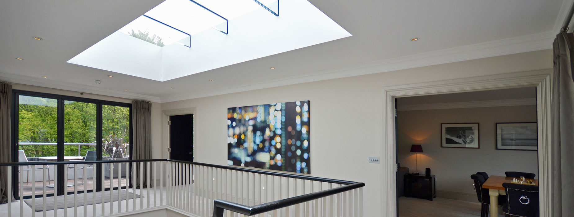 Modern large Diamond roof light installed in a traditional home bringing in lots of natural light in an area that would have otherwise been much darker.