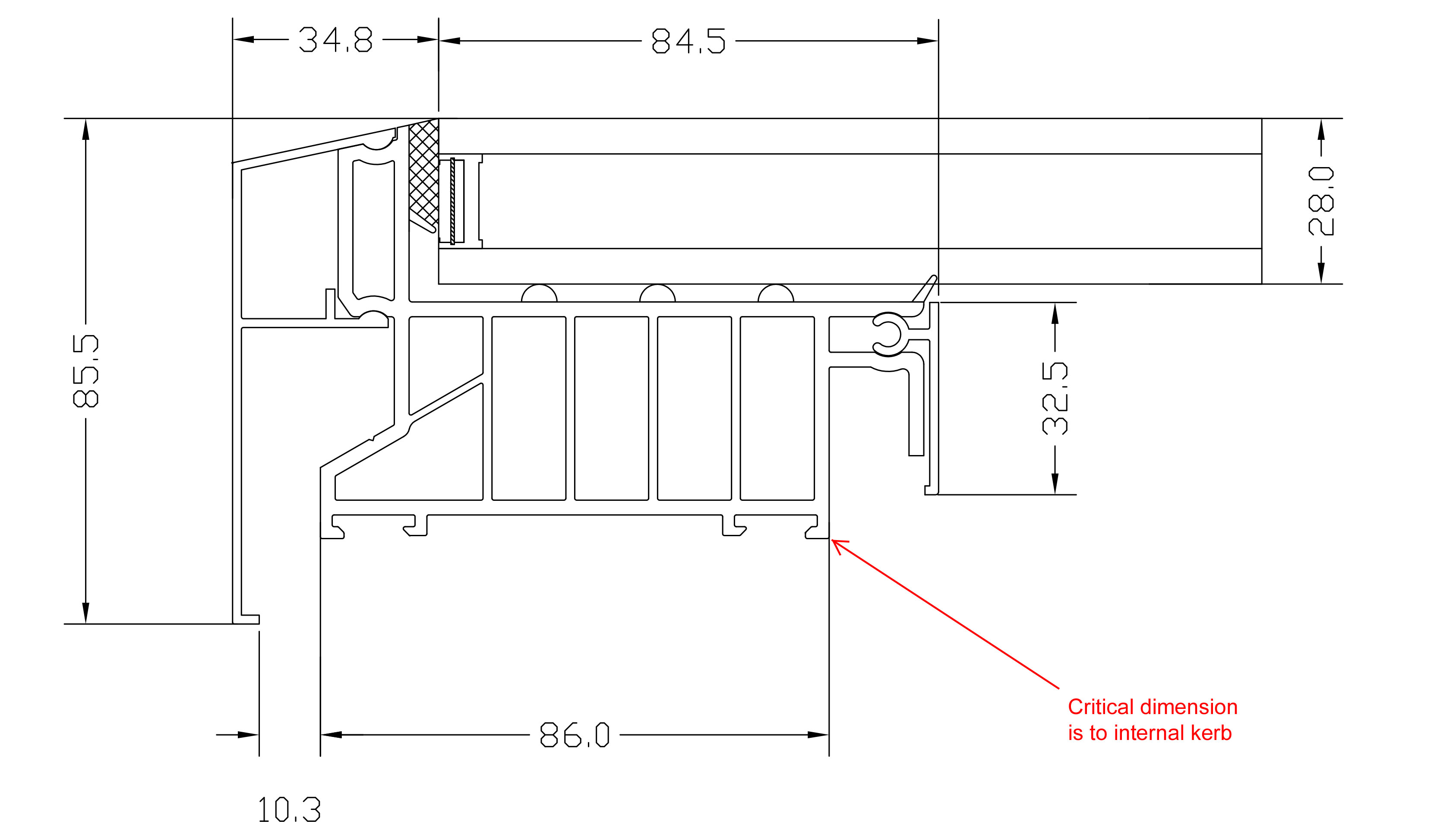 Dimensional details of our standard flat roof light (Technical Drawing)