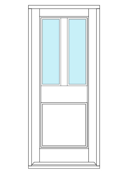 3 Panel door design with two glass panes.