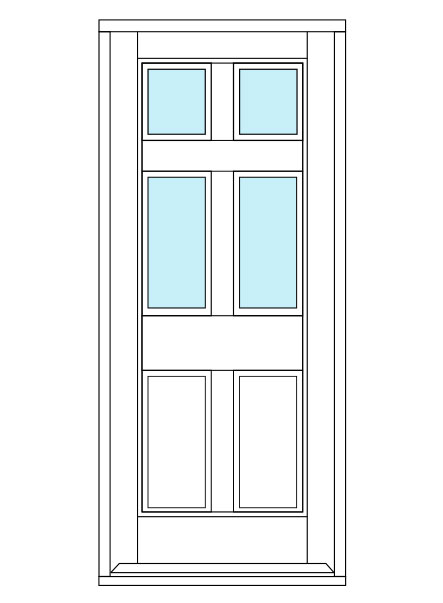 6 Panel Door with 4 panes of glass and two solid panels.