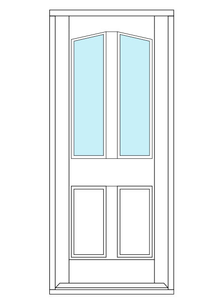 4 Panel door with arched glass panel on the top half.