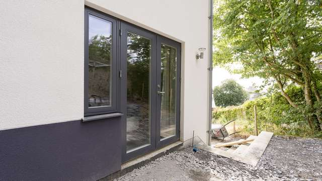 Close up of the Rationel alu-clad french doors.