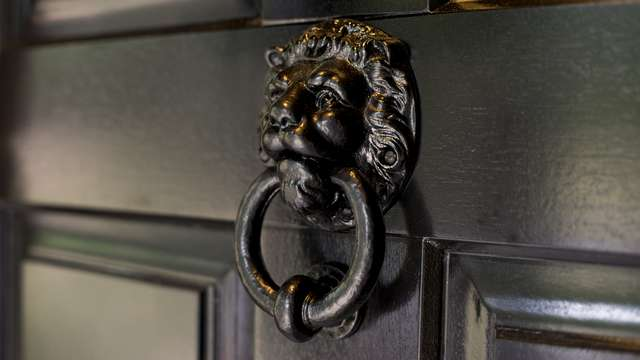 Close up of the Lion head door knocker in black with ring knocker.