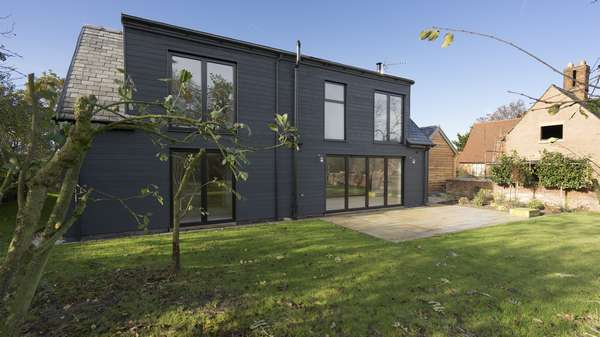 Another angle of the rear of this new developement in Cheshire with black aluminium windows and door throughout.