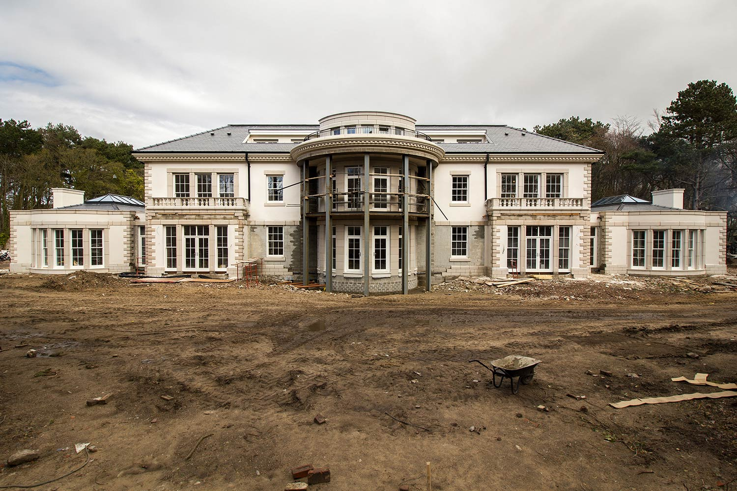 Rear view of Firwood project with scaffolding down one of our largest window and door installs to date. & Palladian Mansion Formby | John Knight Glass