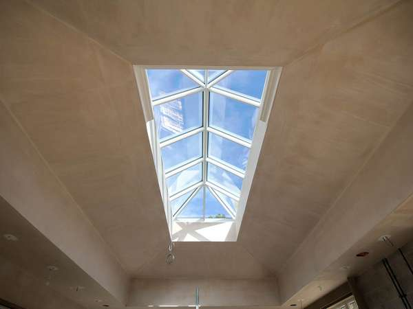 Roof Lantern plastered in, aluminium dual colour white internally with grey externally.