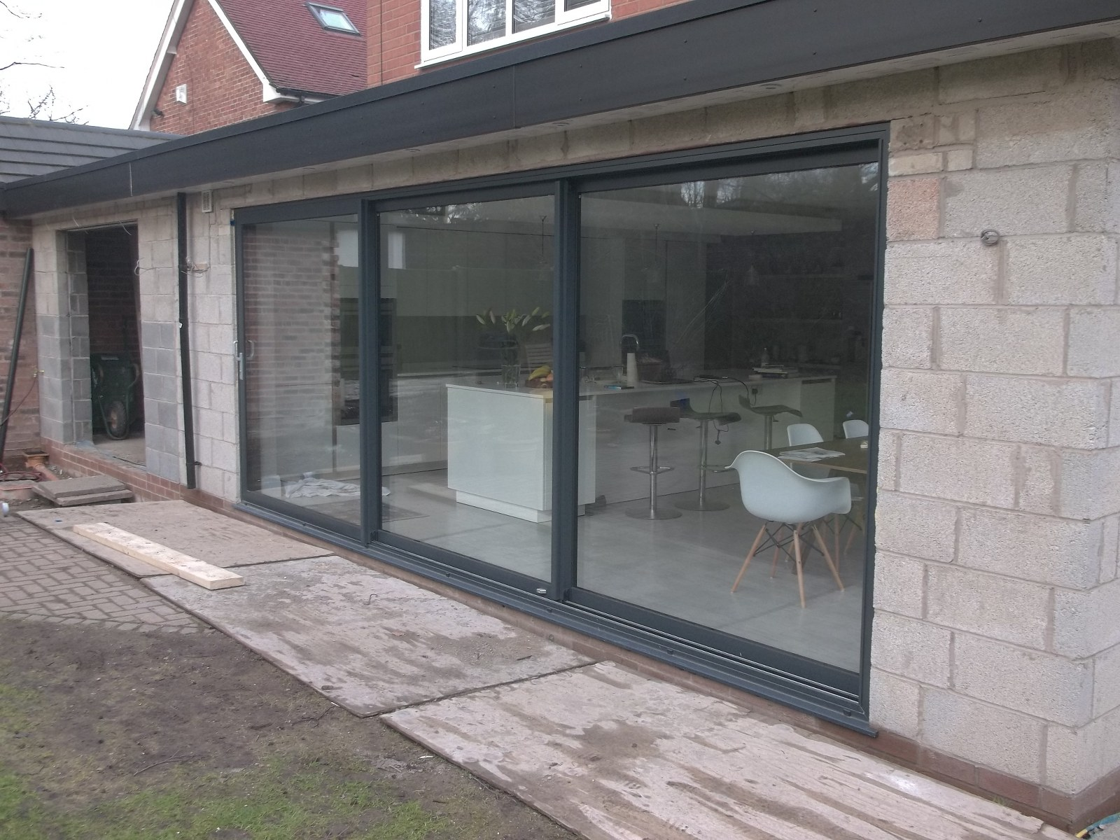 Large Aluminium Dutemann Sliding Door Installed On An Orangery Greasby,  Wirral.