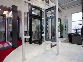 Some of the aluminium windows on display in our Heswall showroom.