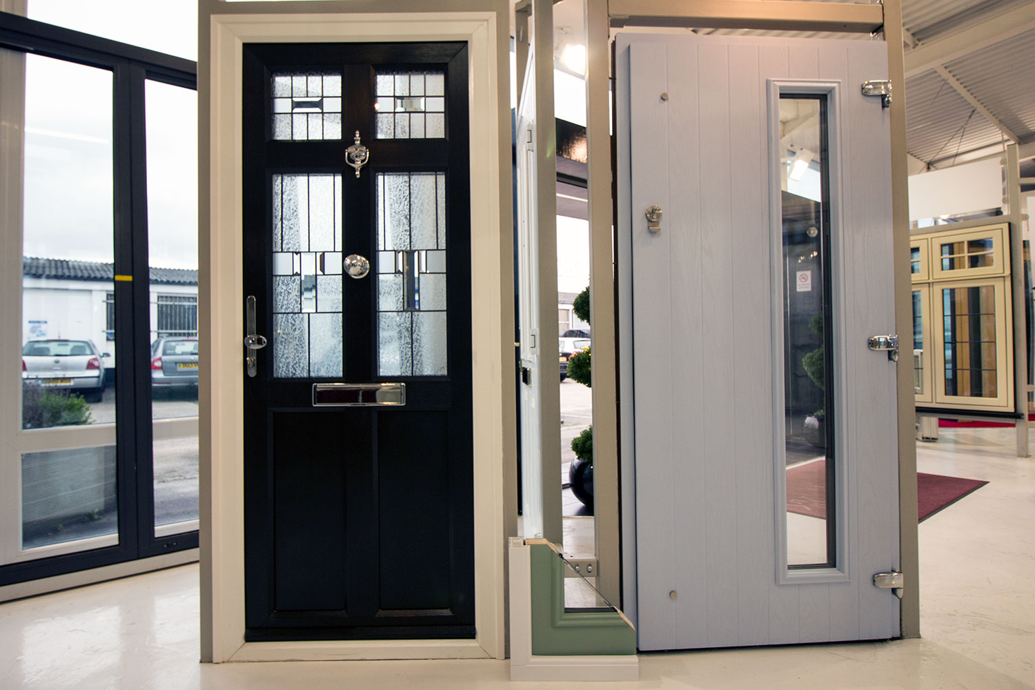 Entrance doors john knight glass composite entrance doors on display in our heswall cheshire showroom rubansaba