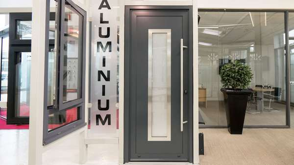 Aluminium entrance door on display in our Heswall, Cheshire showroom.