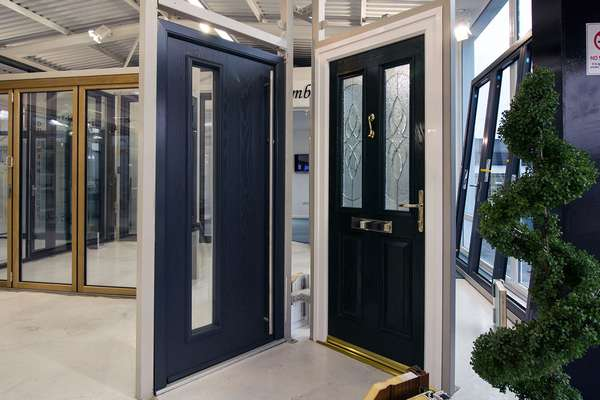Modern and Traditional entrance doors on display in our Heswall, Cheshire showroom.