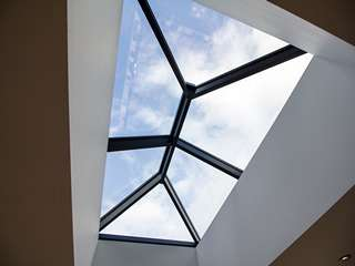 Internal shot of Aluminium roof lantern looking up at the sky, a great option for bringing more light into your space.
