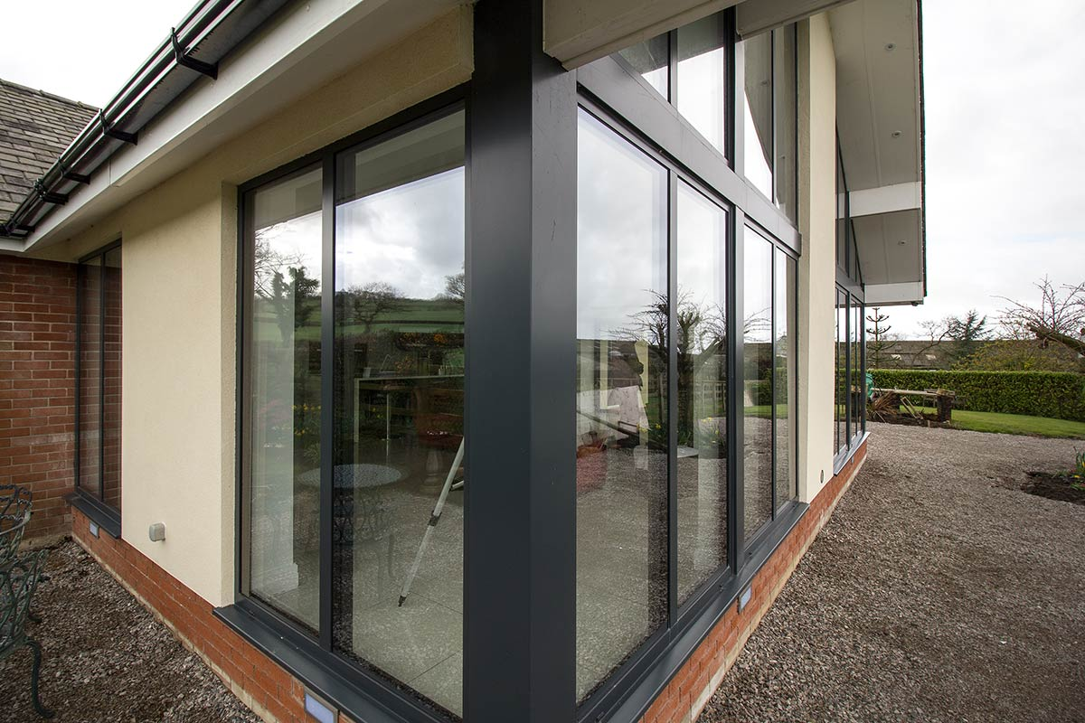 Extrernal View Of Large Aluminium Window Installation In Ormskirk,  Liverpool. Large Windows And Doors