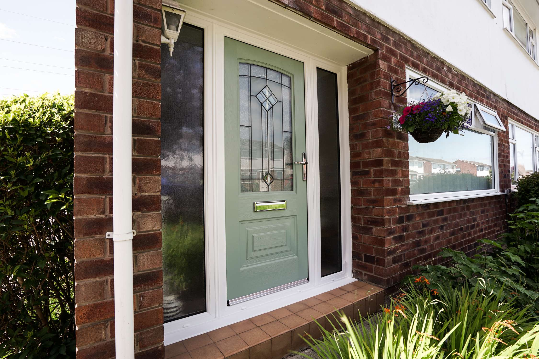 Portland Rockdoor in green with dual frosted sidelights. & ROCKDOOR Composite Doors | John Knight Glass