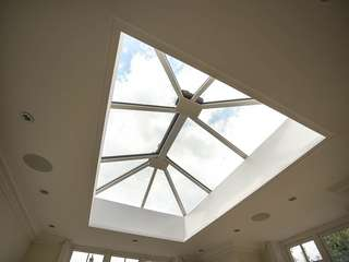 Internal view of ornate aluminium roof lantern to bring light into orangery space.