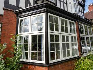 Large timber alternative bay window installation Chester.