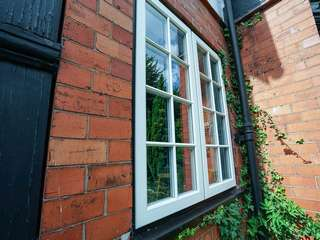 Close up of dual casement window.