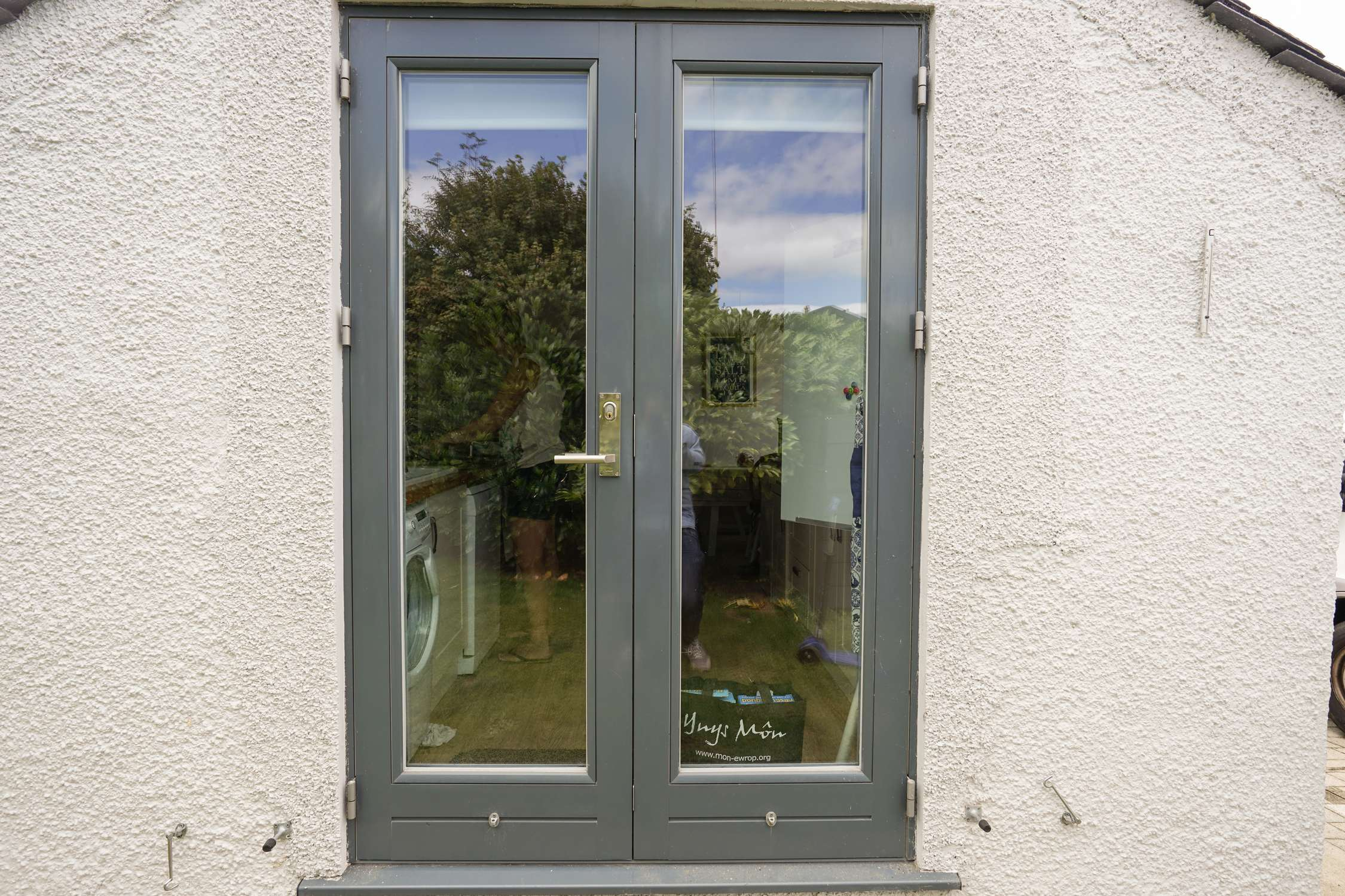 Clad doors contemporary entrance door from grabill for Rear french doors