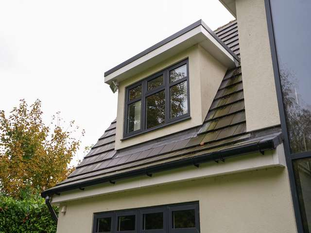 Close up of dormer window.