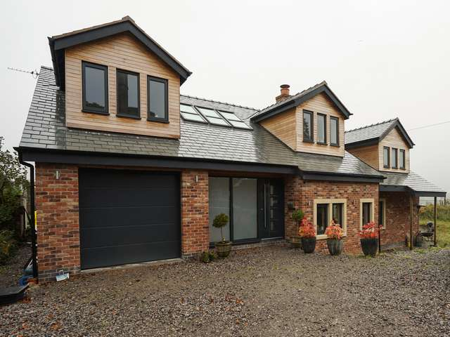 Aluminium windows and door installation throughout this new build in Lymm, Cheshire.