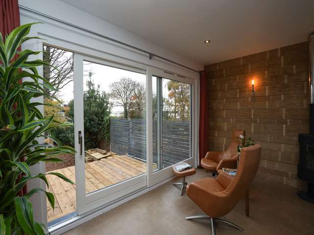 Sitting room view of the timber sliding door.