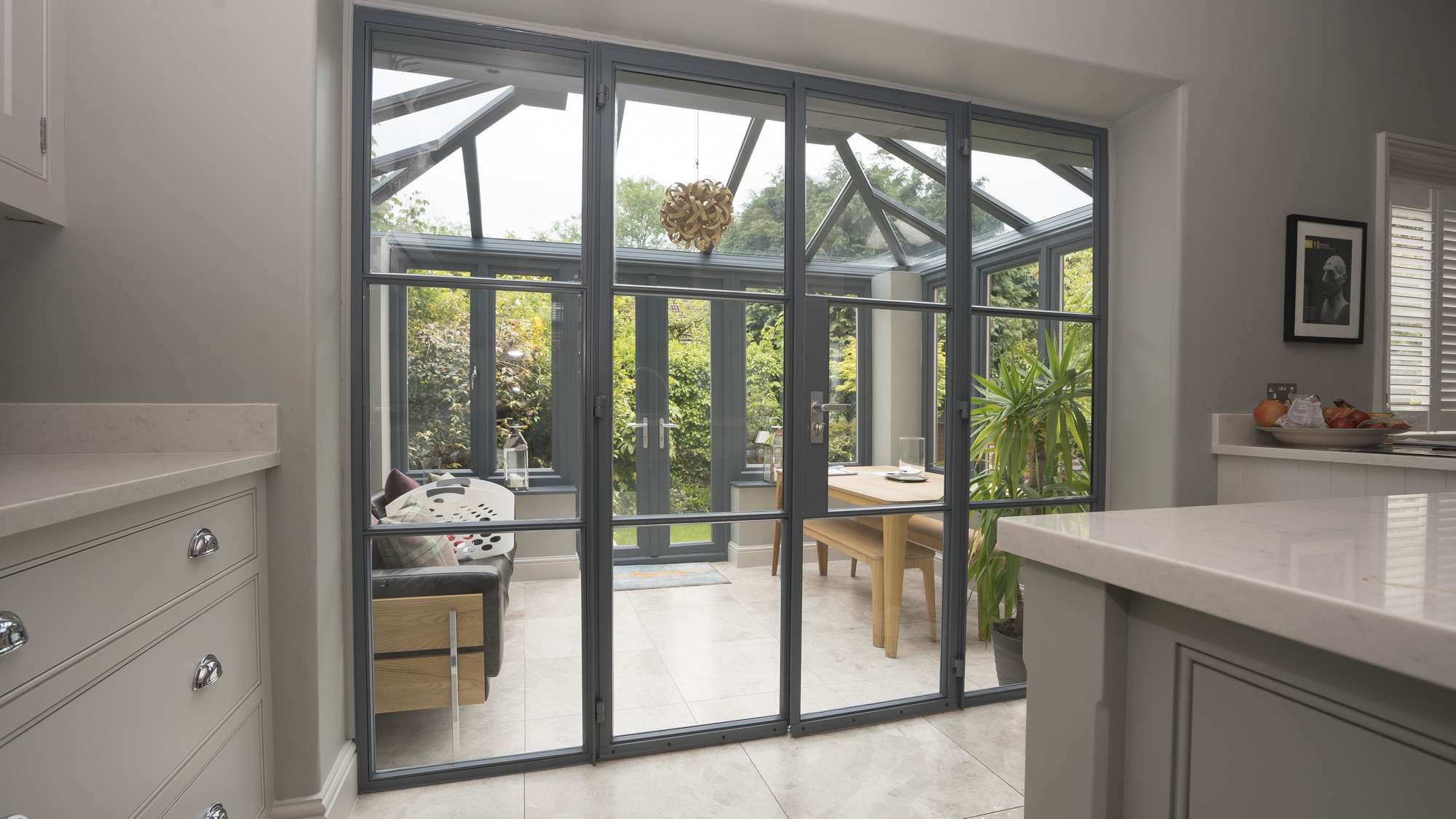 Internal view of the Crittall screen featuring a set of french doors and side lights. & Crittall Screen Manchester | John Knight Glass