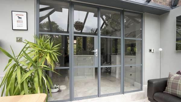 View of the Crittall doors from the garden room.