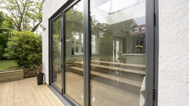 Close up of the aluminium bifolds.