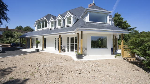 Another external view of this new hamptons style home with alu-clad windows and doors fitted throughout.