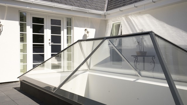 Another view of the all glass roof lantern.