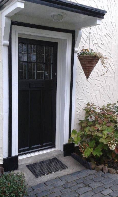 Traditional Style Timber Alternative Door In Black With Lead Lighting From The English Company Recently Fitted On Wirral