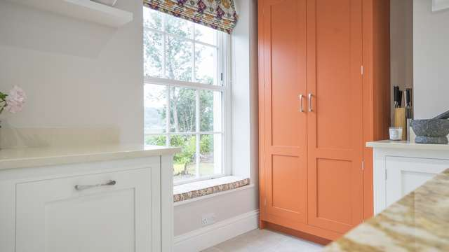 Stunning internal sash window from The Bygone Collection, sitting perfectly within the clients beautiful kitchen area, don't you just love the pop colour larder.