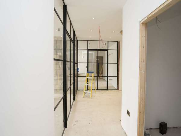 Internal view of dual Crittall screen just installed.