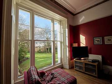Internal images of triple sash window installation almost impossible to tell that these are not original timber sash windows, however having the benefits of modern double glazing and low maintenace UPVC.