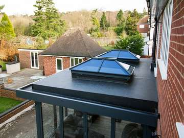 Dual aluminium roof lanterns viewed from above, a great architectural feature.