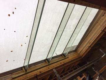 Internal view of large flat roof light.