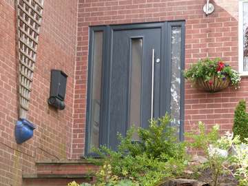 Lymm Manchester. Photo showing our new Compsoite Apeer 70 Front Entrance door. Including self close. 1800 pull handle - triple glazed as standard
