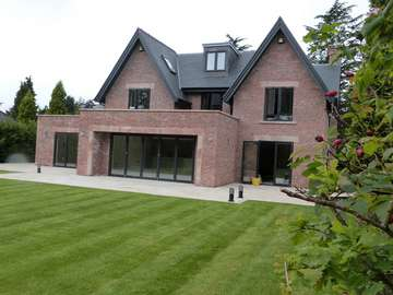 Rear Elervation Photo - Centor C1 Bi Folding doors - Allstyle Aluminium Windows - triple glazed - 7016 grey